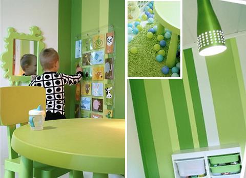 Decoración verde y blanca para habitaciones infantiles