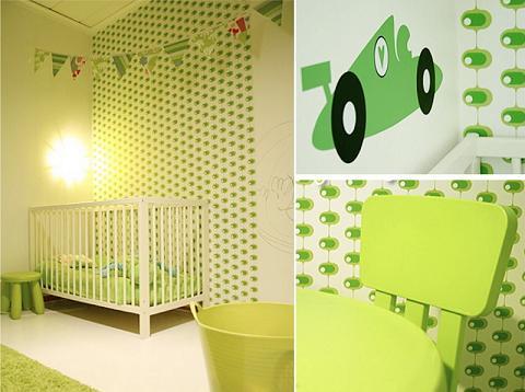 Decoraci n verde y blanca para habitaciones infantiles - Habitacion infantil verde ...