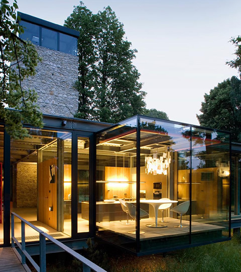 Moderna casa de cristal for Small glass house plans