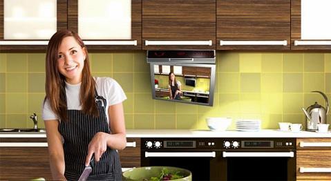 Cocinas de lujo con dvd incorporado - Television en la cocina ...