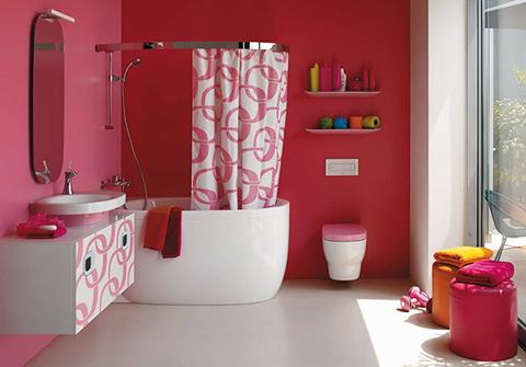 Ba o en color rosa for Accesorios bano rosa