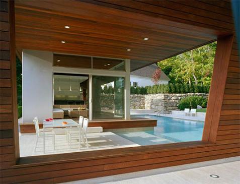 Casa con piscina minimalista - Techado de terrazas ...