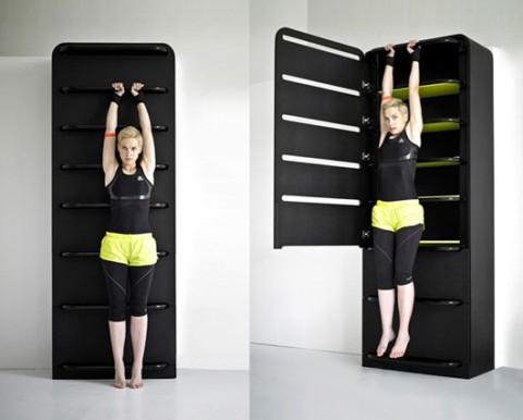 Mueble para hacer deporte y almacenar objetos