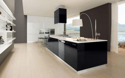 cocina minimalista en blanco y negro. Black Bedroom Furniture Sets. Home Design Ideas