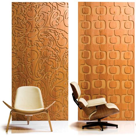 esta coleccin incluye paneles de tres especies de maderas de alta calidad con acabados en una variedad de patrones de diseos abstractos como grabados