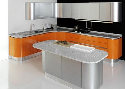 Cocinas de color naranja y plata - Cocinas naranjas y blancas ...