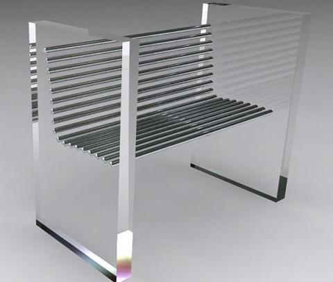 Silla minimalista hecha de acero y acr lico for Sillas de acrilico