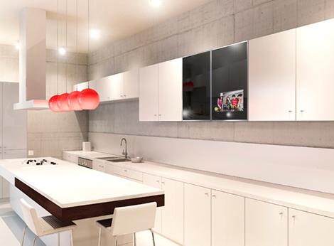 Televisi n integrado en la puerta de la cocina - Television en la cocina ...