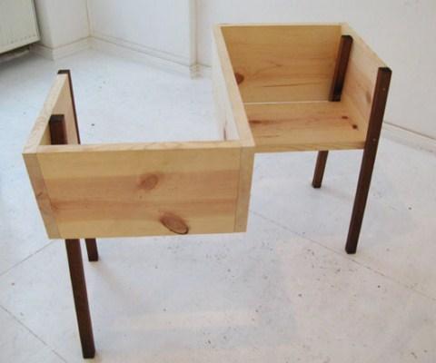 Bancos de madera minimalistas for Bancos merenderos de madera