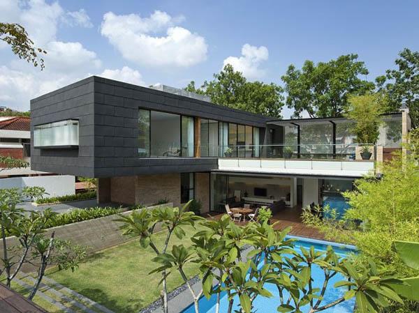 Casa familiar con piscina en singapur for Modelos de villas de un piso