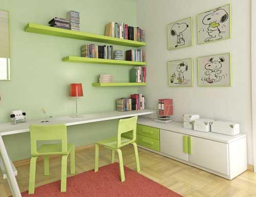 Dormitorio de color verde