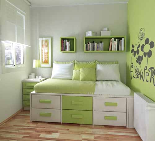 Dormitorio de color verde for Cuarto universitario