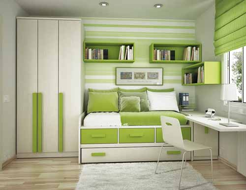 Dormitorio de color verde - Habitaciones infantiles verdes ...