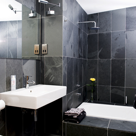Baños Modernos Decorados:Black Tile Bathroom Ideas