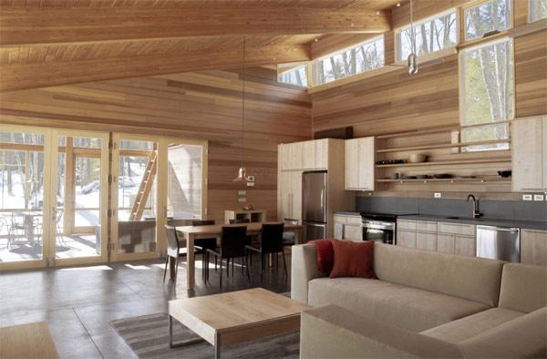 Existe la posibilidad de que todo sea de madera muebles, cuelos, paredes y techos. El resultado es un diseño realmente espectacular y confortable.