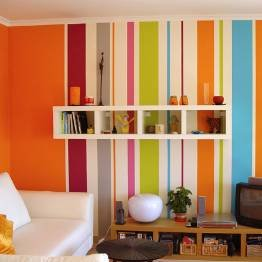 Pintar las paredes a rayas - Pintar pared a rayas horizontales ...