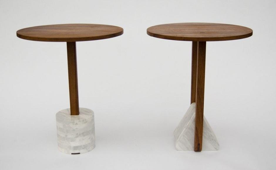 Mesas hechas con madera de teca y m rmol for Mesas hechas con puertas de madera