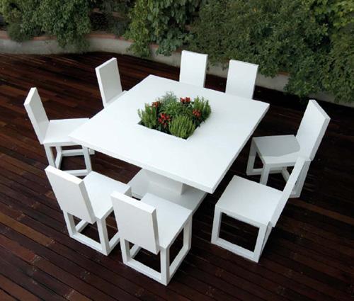 Mobiliario blanco para exteriores de bysteel for Mobiliario para exteriores