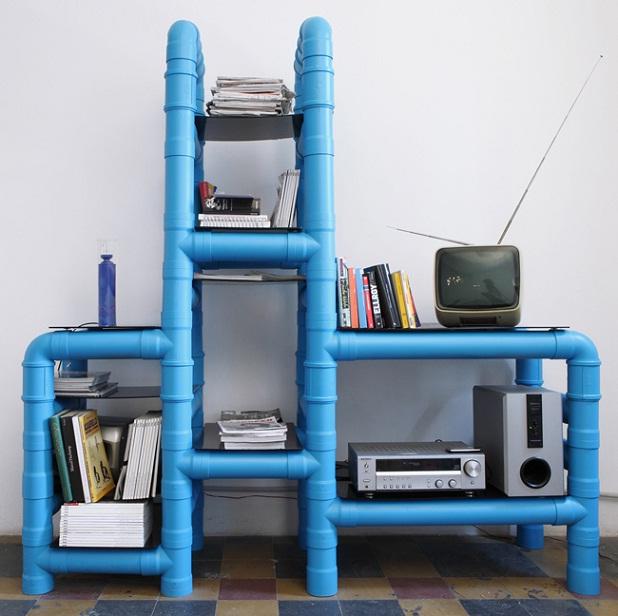 Mueble hecho con tubos de PVC