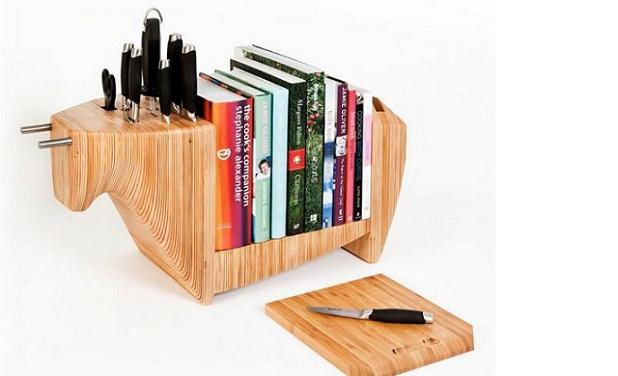 Mueble para almacenar cuchillos y libros de cocina for Muebles para libros