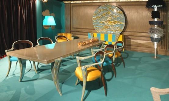 Muebles en amarillo y turquesa (310)