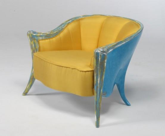 Muebles en amarillo y turquesa (1010)