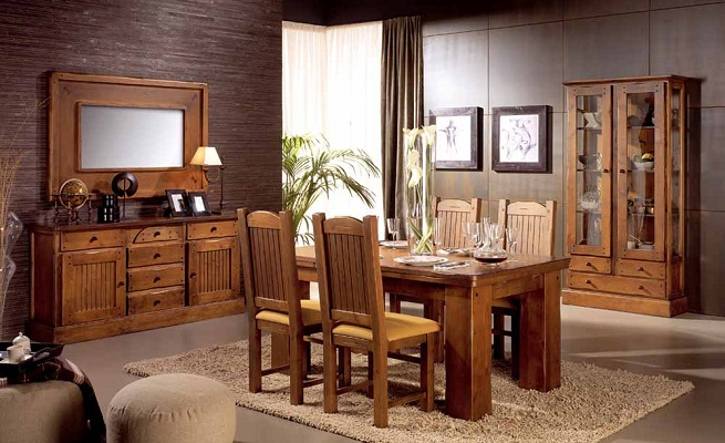 Sal n de estilo r stico for Visillos para salon rustico