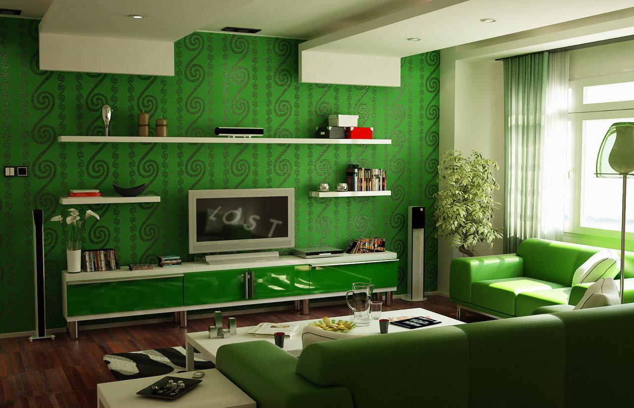 Salones de color verde for Green themed living room ideas