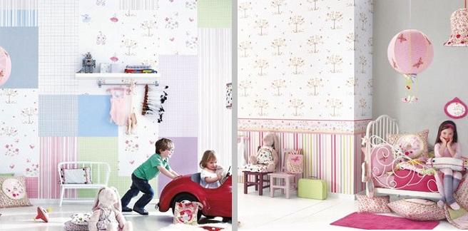 Papel pintado para dormitorios infantiles for Papel pintado pared dormitorio