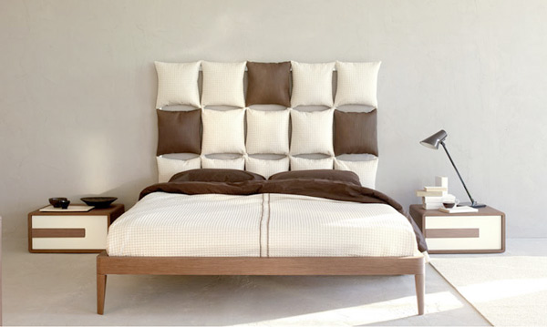 Cabeceros de cama con almohadas y cojines Decoracion de camas con cojines