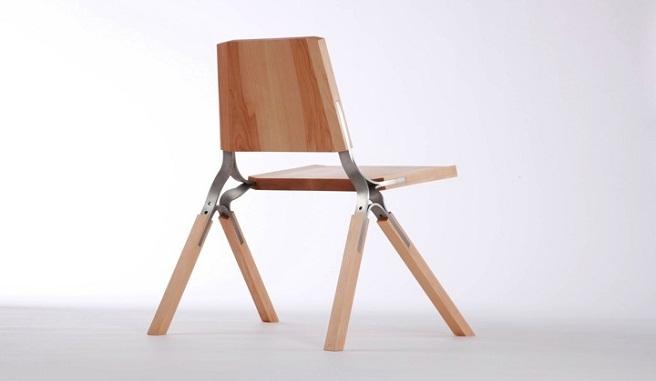 Pr ctica silla de madera y acero inoxidable for Sillas de acero para comedor