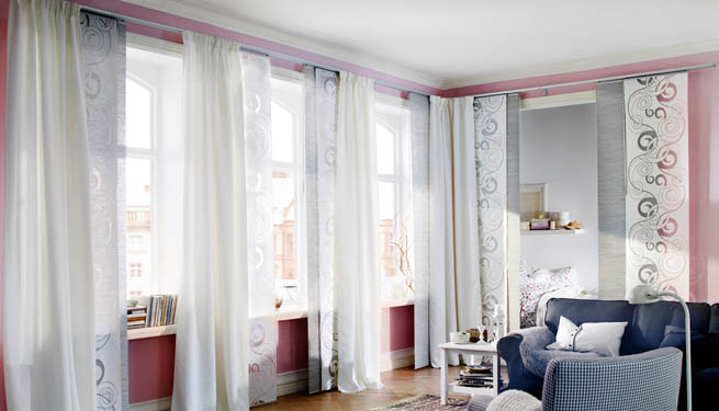 Cortinas con paneles japoneses for Cortinas de salon ikea