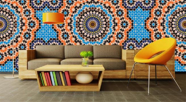 Papel pintado de estilo marroqu for Papel de empapelar paredes