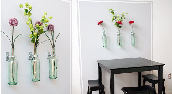 Decorar la pared con botellas - Como decorar pared con fotos ...