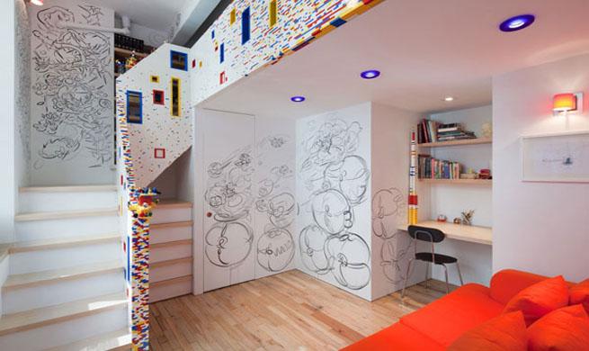 apartamento decorado con piezas de lego