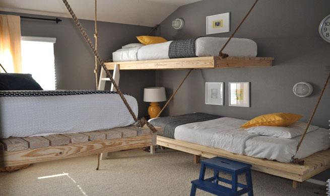 Dormitorio con camas colgadas - Aprovechar espacio dormitorio ...