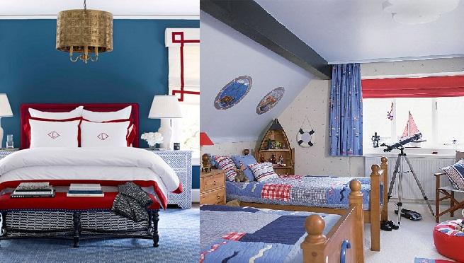 Decorar un dormitorio en rojo y azul