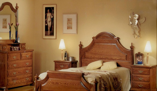 Decorar el dormitorio con muebles de madera de roble
