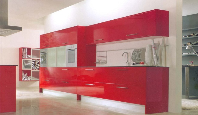 Decorar la cocina de color rojo - Cocinas color rojo ...