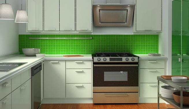 Decorar la cocina de color verde for Colores para cocina