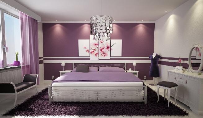 Decorar un dormitorio combinando el color morado - Combinar colores paredes dormitorio ...
