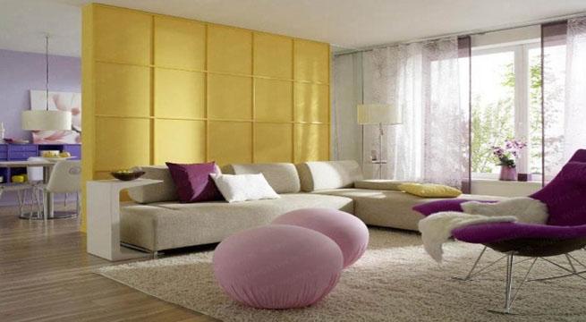 Decorar con colores complementarios - Decoracion salon amarillo ...