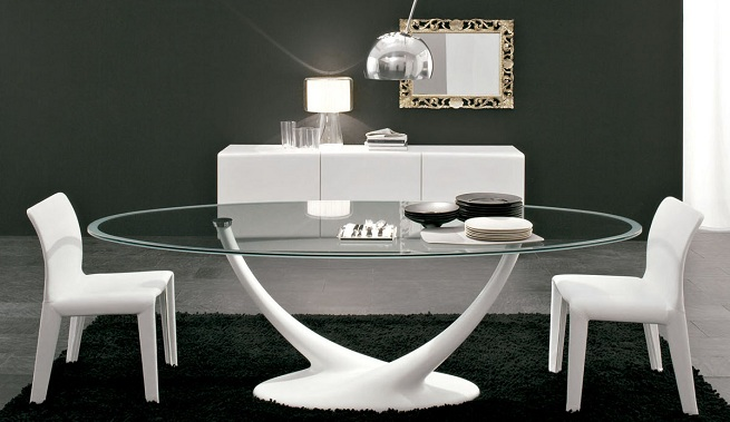 Baño Sucio Feng Shui:Modern Glass Top Dining Room Table