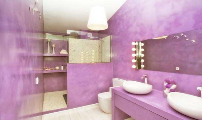 Baños Beige Con Blanco:Baño con glamour en púrpura y blanco