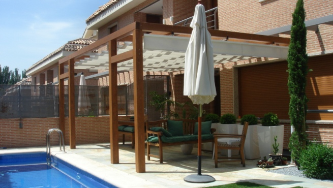 beautiful pergolas de madera para piscinas