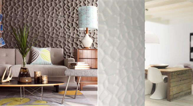 Paneles en relieve para decorar paredes for Decoracion de pared para living