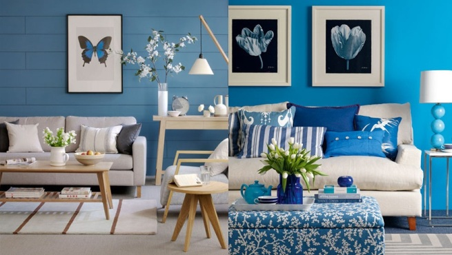 Decorar el sal n de color azul for La casa azul decoracion