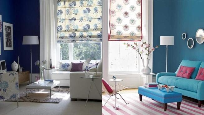 Decorar el sal n de color azul - Como pintar las paredes del salon ...