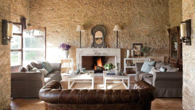 Decoracion Living Rustico ~ Salones acogedores con chimenea