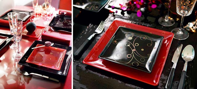Decoraci n roja y negra para la mesa en navidad - Vajillas cuadradas modernas ...